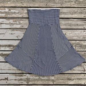 American Eagle Navy & White Stripe Strapless Dress